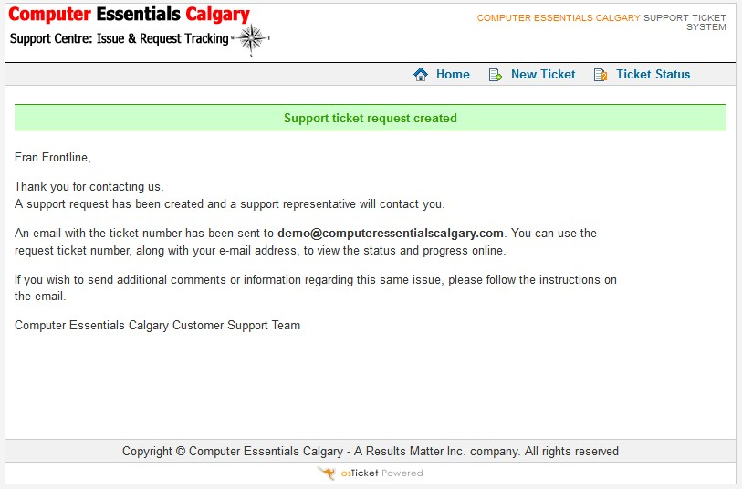 Computer Essentials Calgary - Submit Reqest Confirmation